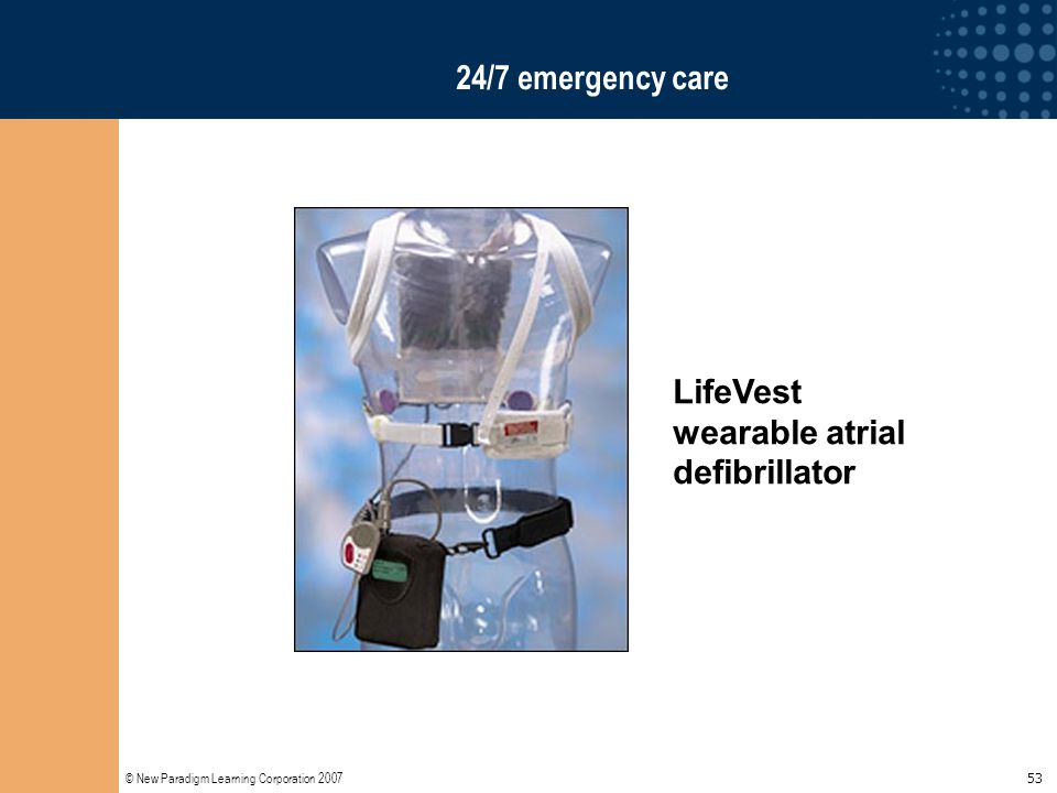 © New Paradigm Learning Corporation 2007 53 24/7 emergency care LifeVest wearable atrial defibrillator