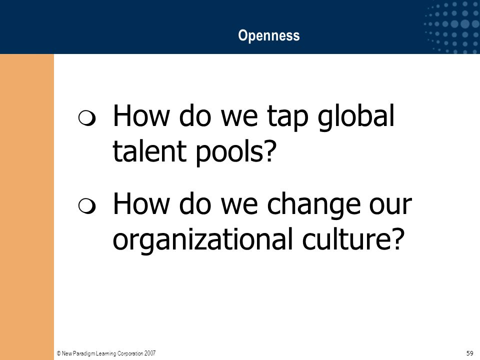 © New Paradigm Learning Corporation 2007 59 Openness  How do we tap global talent pools?  How do we change our organizational culture?
