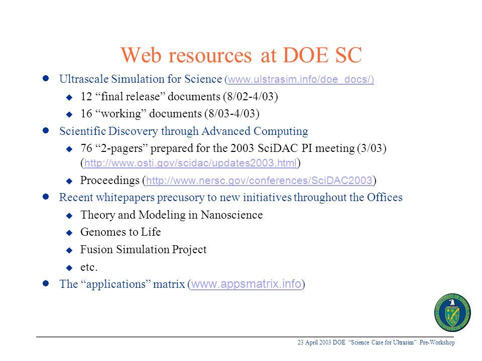 """23 April 2003 DOE """"Science Case for Ultrasim"""" Pre-Workshop Web resources at DOE SC Ultrascale Simulation for Science ( www.ulstrasim.info/doe_docs/) u"""