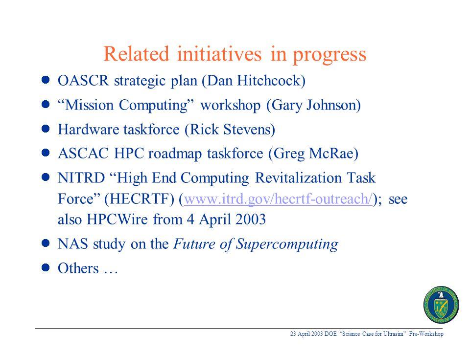 "23 April 2003 DOE ""Science Case for Ultrasim"" Pre-Workshop Related initiatives in progress OASCR strategic plan (Dan Hitchcock) ""Mission Computing"" wo"