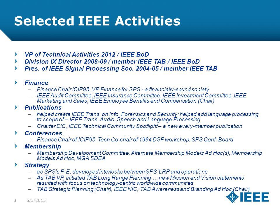 12-CRS-0106 REVISED 8 FEB 2013 5/3/20153 Selected IEEE Activities VP of Technical Activities 2012 / IEEE BoD Division IX Director 2008-09 / member IEEE TAB / IEEE BoD Pres.