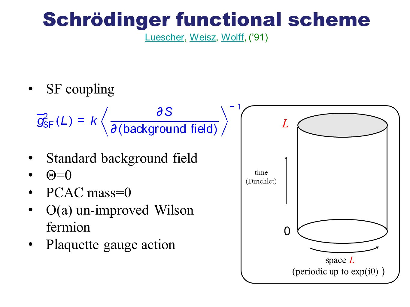 Schrödinger functional scheme Luescher, Weisz, Wolff, ('91) LuescherWeiszWolff SF coupling Standard background field Θ=0 PCAC mass=0 O(a) un-improved Wilson fermion Plaquette gauge action time (Dirichlet) space L (periodic up to exp(iθ) ) 0 L