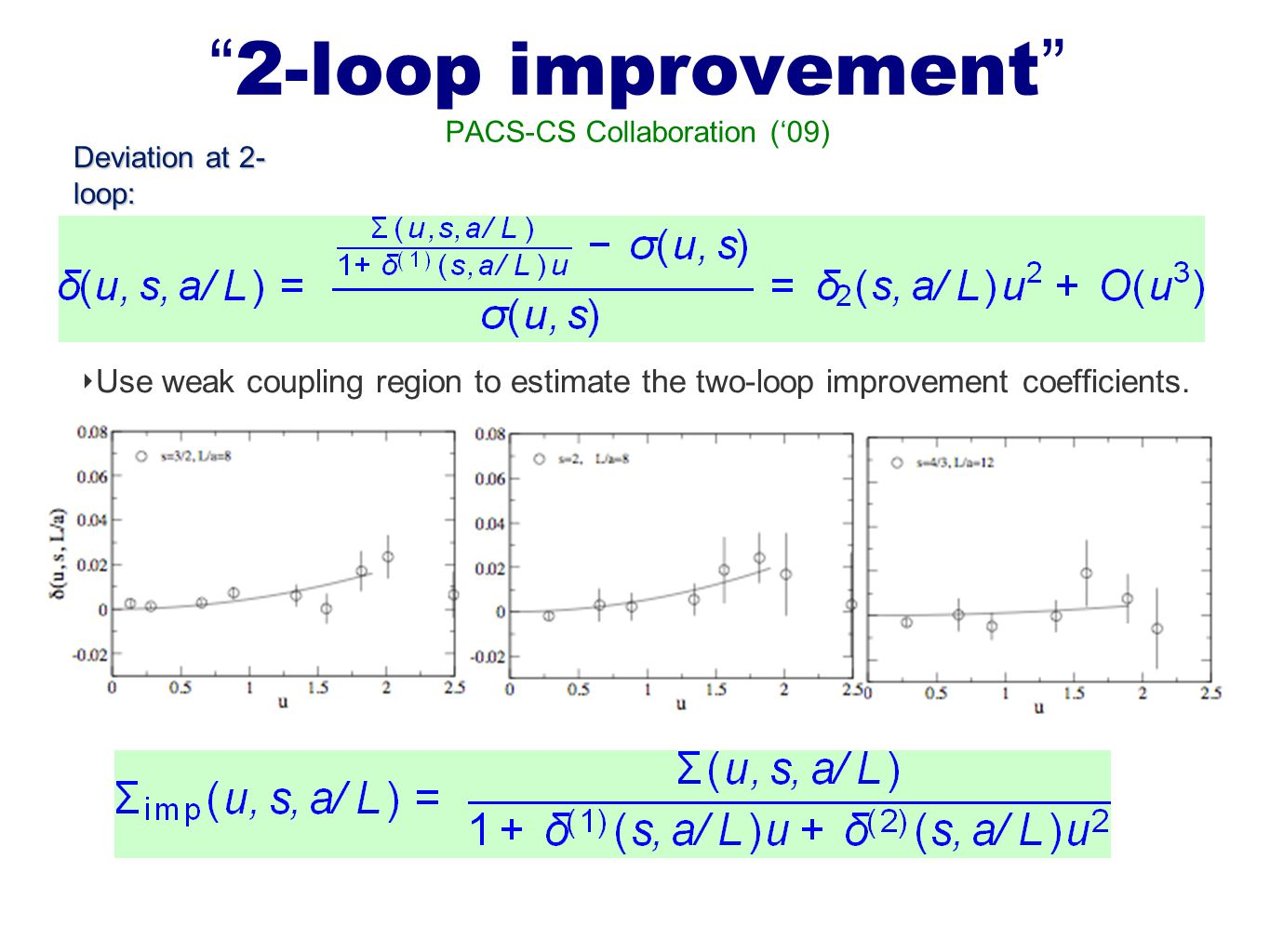 2-loop improvement PACS-CS Collaboration ('09) ‣ Use weak coupling region to estimate the two-loop improvement coefficients.