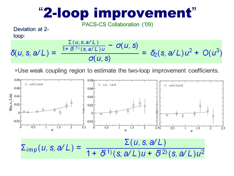 """ 2-loop improvement "" PACS-CS Collaboration ('09) ‣ Use weak coupling region to estimate the two-loop improvement coefficients. ‣ ""2-loop"" Improved s"