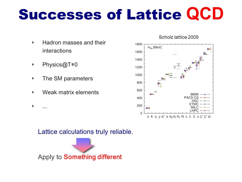 Successes of Lattice QCD ‣ Hadron masses and their interactions ‣ Physics@T≠0 ‣ The SM parameters ‣ Weak matrix elements ‣... Scholz lattice 2009 Latt