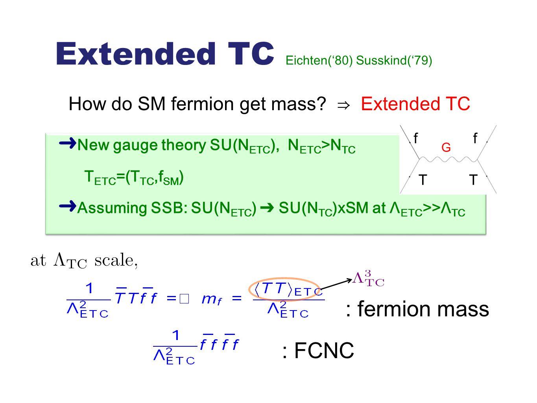 Extended TC Eichten('80) Susskind('79) How do SM fermion get mass? ⇒ Extended TC ➜ New gauge theory SU(N ETC ), N ETC >N TC T ETC =(T TC,f SM ) ➜ Assu