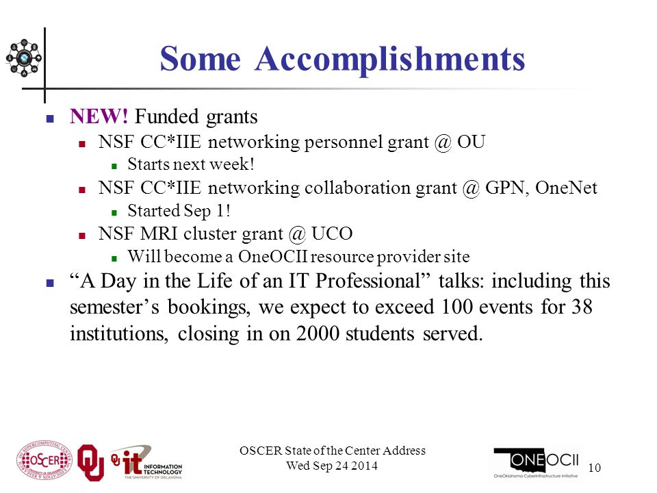 OSCER State of the Center Address Wed Sep 24 2014 10 Some Accomplishments NEW.