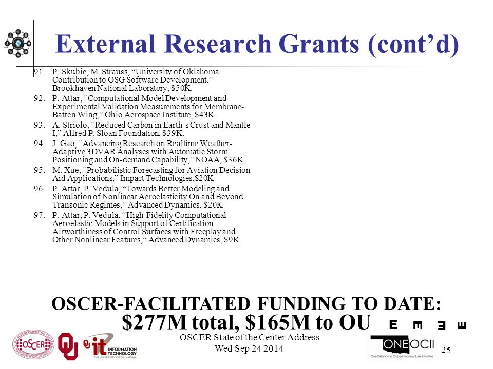 OSCER State of the Center Address Wed Sep 24 2014 25 External Research Grants (cont'd) 91.P.