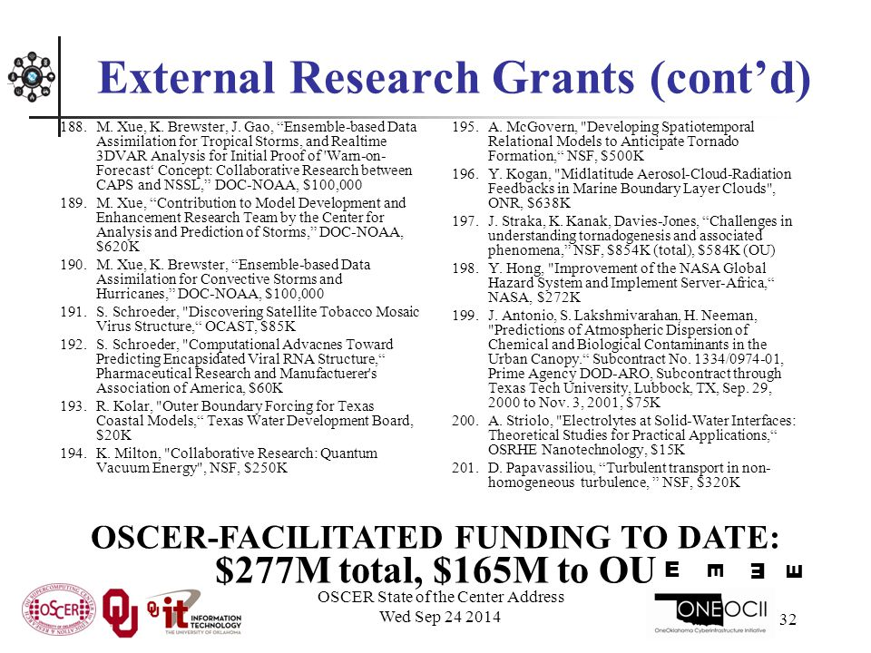OSCER State of the Center Address Wed Sep 24 2014 32 External Research Grants (cont'd) 188.M.