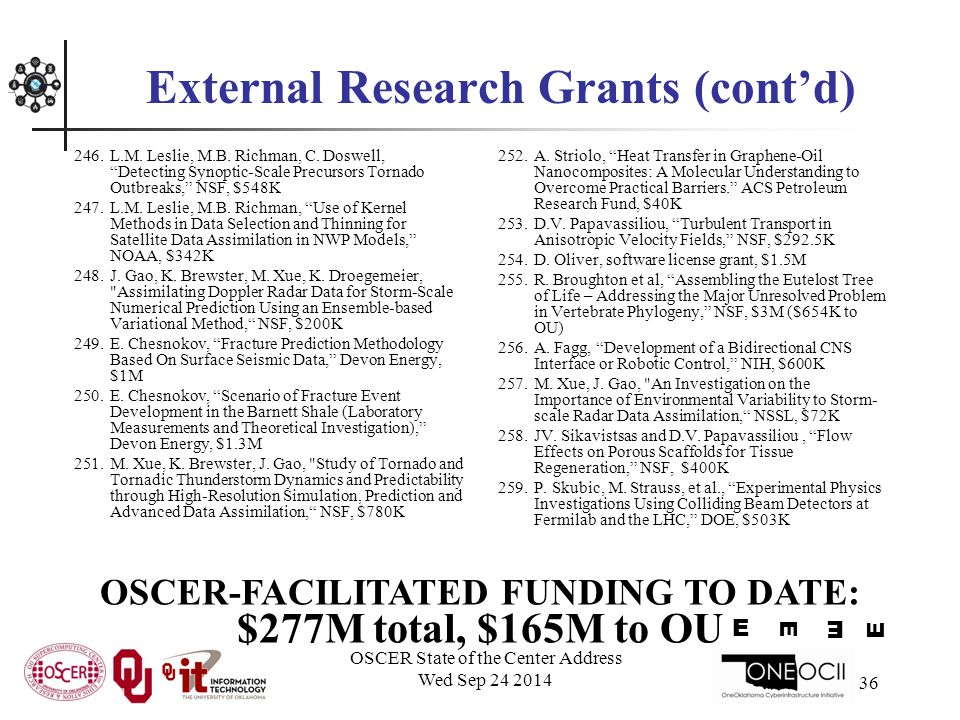 OSCER State of the Center Address Wed Sep 24 2014 36 External Research Grants (cont'd) 246.L.M.