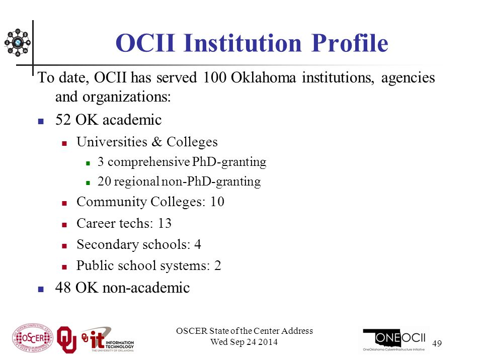 OCII Institution Profile To date, OCII has served 100 Oklahoma institutions, agencies and organizations: 52 OK academic Universities & Colleges 3 comprehensive PhD-granting 20 regional non-PhD-granting Community Colleges: 10 Career techs: 13 Secondary schools: 4 Public school systems: 2 48 OK non-academic OSCER State of the Center Address Wed Sep 24 2014 49