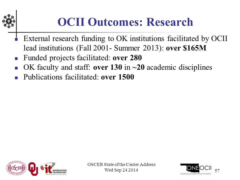 OSCER State of the Center Address Wed Sep 24 2014 57 OCII Outcomes: Research External research funding to OK institutions facilitated by OCII lead institutions (Fall 2001- Summer 2013): over $165M Funded projects facilitated: over 280 OK faculty and staff: over 130 in ~20 academic disciplines Publications facilitated: over 1500