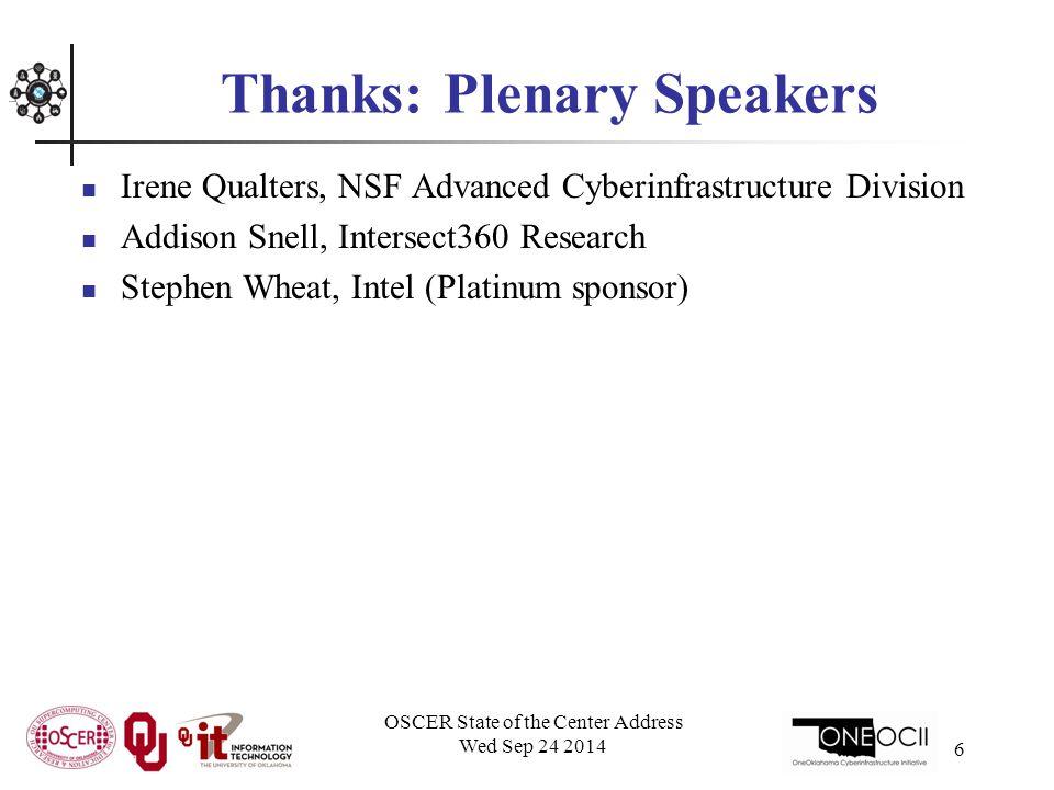 Thanks: Gold Sponsor Speakers Saeed Iqbal, Dell Robert Kern, Mellanox Technologies Don Schulte, Cray, Inc.