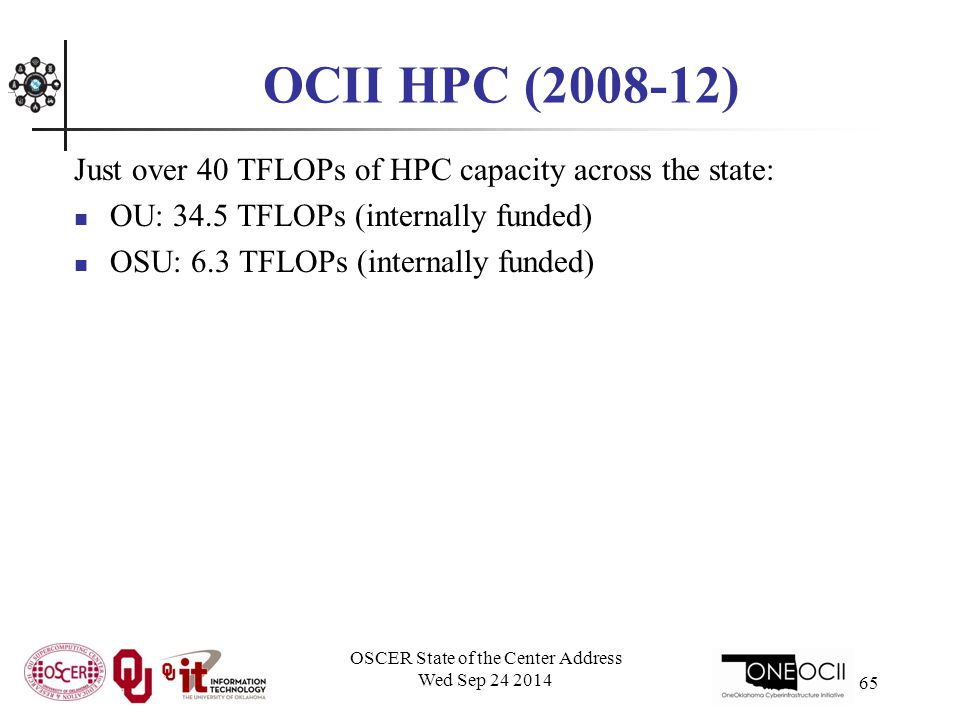 OCII HPC (2008-12) Just over 40 TFLOPs of HPC capacity across the state: OU: 34.5 TFLOPs (internally funded) OSU: 6.3 TFLOPs (internally funded) OSCER State of the Center Address Wed Sep 24 2014 65