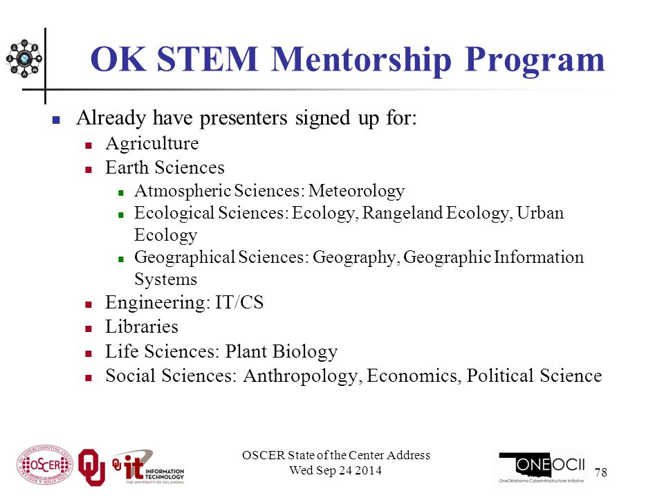 OK STEM Mentorship Program Already have presenters signed up for: Agriculture Earth Sciences Atmospheric Sciences: Meteorology Ecological Sciences: Ecology, Rangeland Ecology, Urban Ecology Geographical Sciences: Geography, Geographic Information Systems Engineering: IT/CS Libraries Life Sciences: Plant Biology Social Sciences: Anthropology, Economics, Political Science OSCER State of the Center Address Wed Sep 24 2014 78