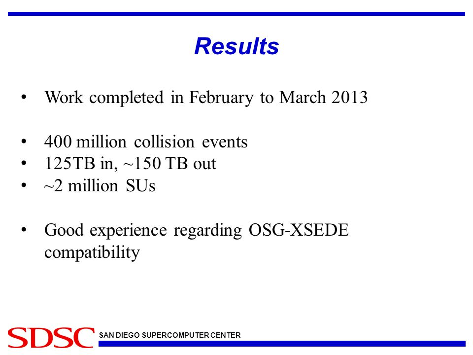 SAN DIEGO SUPERCOMPUTER CENTER Thoughts & Conclusions OSG & XSEDE technologies very similar GridFTP GSI authentication Batch systems, etc.