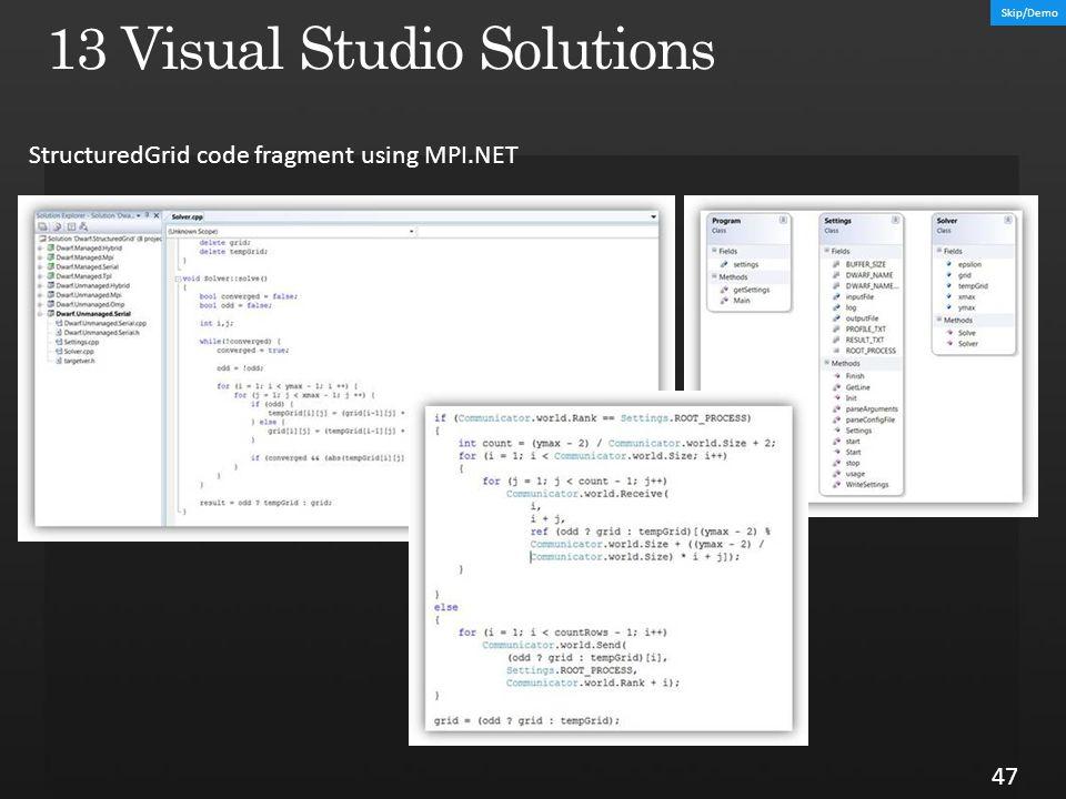 47 StructuredGrid code fragment using MPI.NET Skip/Demo