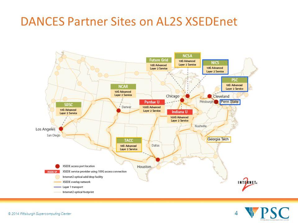 4 © 2010 Pittsburgh Supercomputing Center © 2014 Pittsburgh Supercomputing Center DANCES Partner Sites on AL2S XSEDEnet