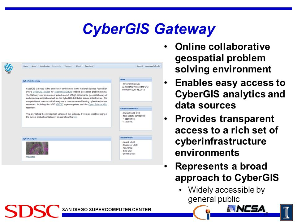 SAN DIEGO SUPERCOMPUTER CENTER CyberGIS Gateway Online collaborative geospatial problem solving environment Enables easy access to CyberGIS analytics and data sources Provides transparent access to a rich set of cyberinfrastructure environments Represents a broad approach to CyberGIS Widely accessible by general public 12