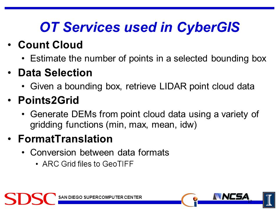 SAN DIEGO SUPERCOMPUTER CENTER OT Services used in CyberGIS Count Cloud Estimate the number of points in a selected bounding box Data Selection Given a bounding box, retrieve LIDAR point cloud data Points2Grid Generate DEMs from point cloud data using a variety of gridding functions (min, max, mean, idw) FormatTranslation Conversion between data formats ARC Grid files to GeoTIFF 17