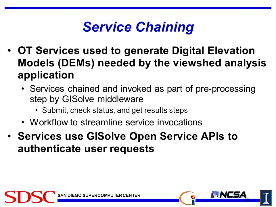 SAN DIEGO SUPERCOMPUTER CENTER Service Chaining OT Services used to generate Digital Elevation Models (DEMs) needed by the viewshed analysis application Services chained and invoked as part of pre-processing step by GISolve middleware Submit, check status, and get results steps Workflow to streamline service invocations Services use GISolve Open Service APIs to authenticate user requests 18