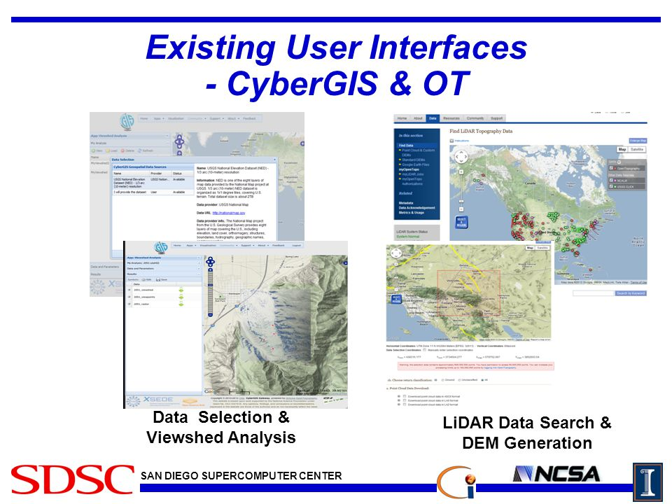 SAN DIEGO SUPERCOMPUTER CENTER Existing User Interfaces - CyberGIS & OT Data Selection & Viewshed Analysis LiDAR Data Search & DEM Generation f