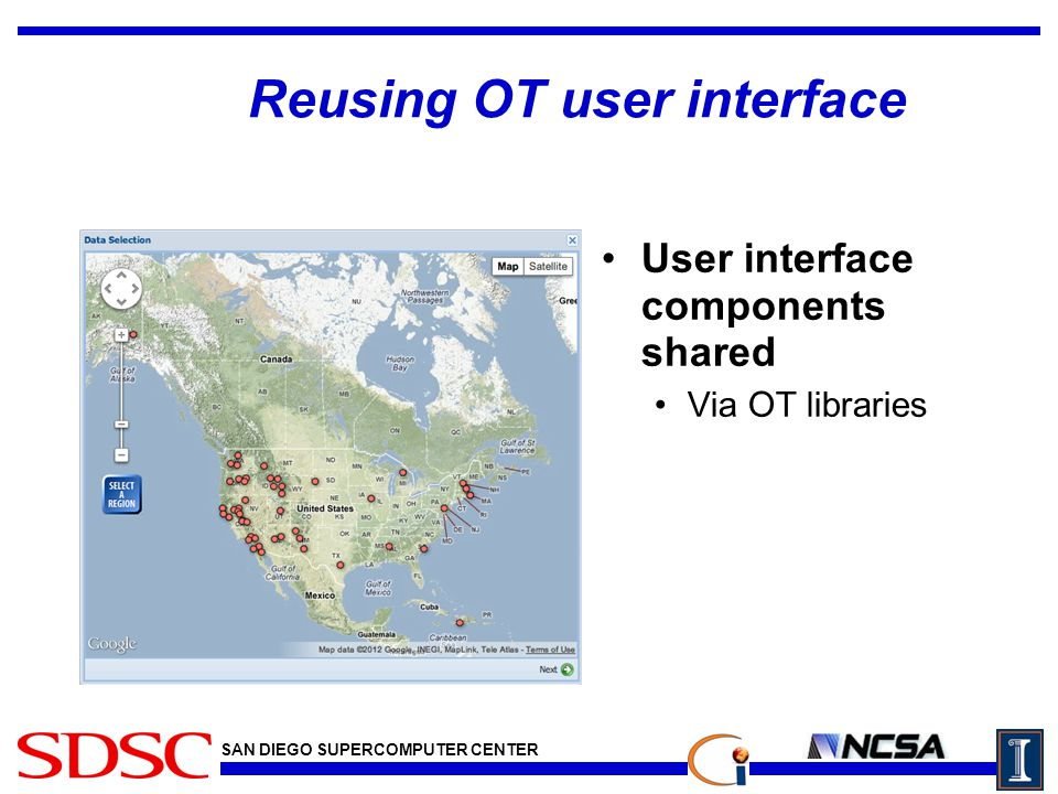 SAN DIEGO SUPERCOMPUTER CENTER Reusing OT user interface User interface components shared Via OT libraries