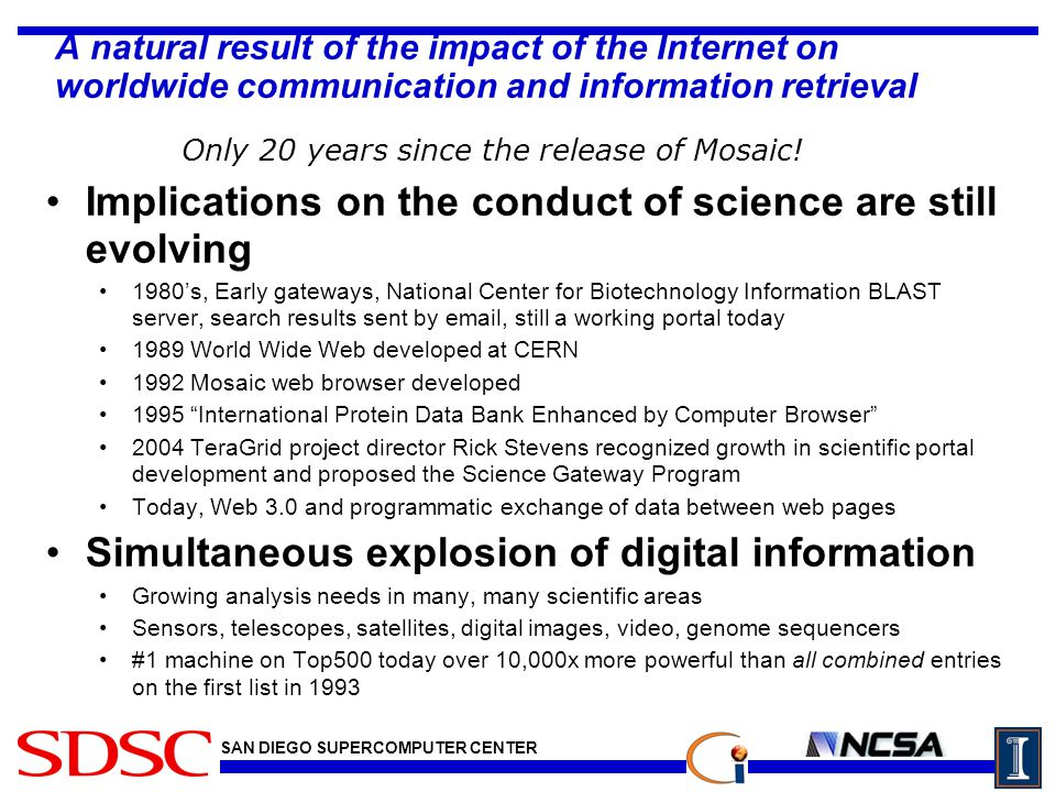 SAN DIEGO SUPERCOMPUTER CENTER A natural result of the impact of the Internet on worldwide communication and information retrieval Implications on the conduct of science are still evolving 1980's, Early gateways, National Center for Biotechnology Information BLAST server, search results sent by email, still a working portal today 1989 World Wide Web developed at CERN 1992 Mosaic web browser developed 1995 International Protein Data Bank Enhanced by Computer Browser 2004 TeraGrid project director Rick Stevens recognized growth in scientific portal development and proposed the Science Gateway Program Today, Web 3.0 and programmatic exchange of data between web pages Simultaneous explosion of digital information Growing analysis needs in many, many scientific areas Sensors, telescopes, satellites, digital images, video, genome sequencers #1 machine on Top500 today over 10,000x more powerful than all combined entries on the first list in 1993 Only 20 years since the release of Mosaic!