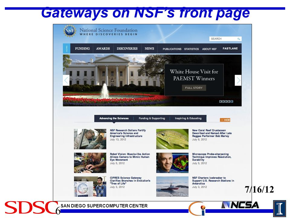 SAN DIEGO SUPERCOMPUTER CENTER Gateways on NSF's front page 6 7/16/12
