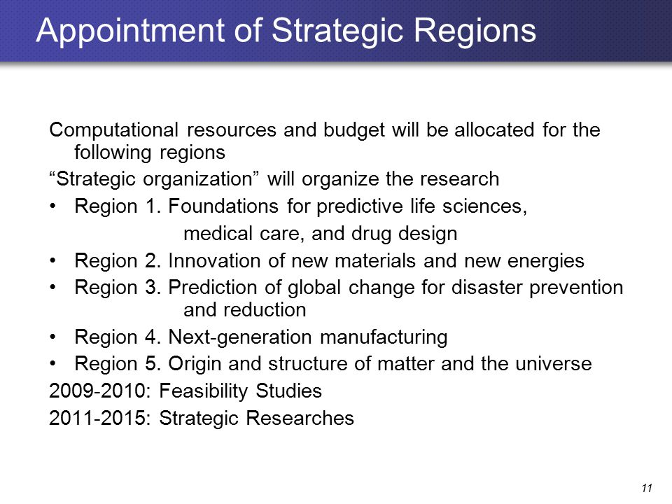 Appointment of Strategic Regions Computational resources and budget will be allocated for the following regions Strategic organization will organize the research Region 1.