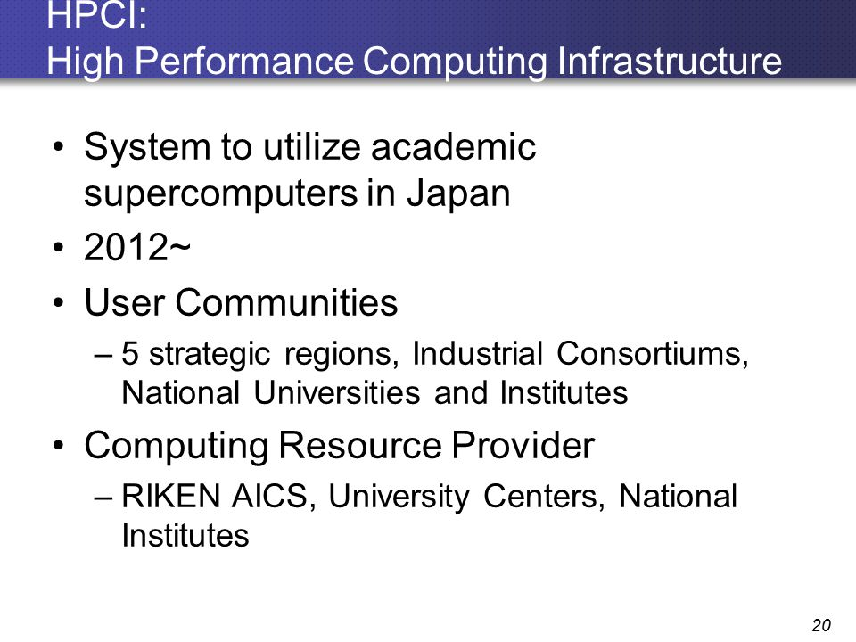 HPCI: High Performance Computing Infrastructure System to utilize academic supercomputers in Japan 2012~ User Communities –5 strategic regions, Indust