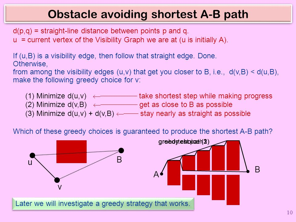 Obstacle avoiding shortest A-B path A B d(p,q) = straight-line distance between points p and q. u = current vertex of the Visibility Graph we are at (