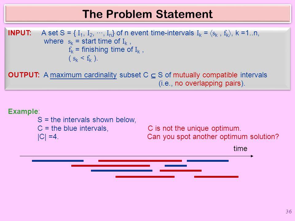 The Problem Statement INPUT: A set S = { I 1, I 2, ···, I n } of n event time-intervals I k =  s k, f k , k =1..n, where s k = start time of I k, f