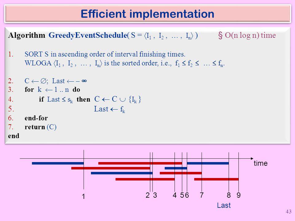 Efficient implementation Algorithm GreedyEventSchedule( S =  I 1, I 2, …, I n  ) § O(n log n) time 1. SORT S in ascending order of interval finishin