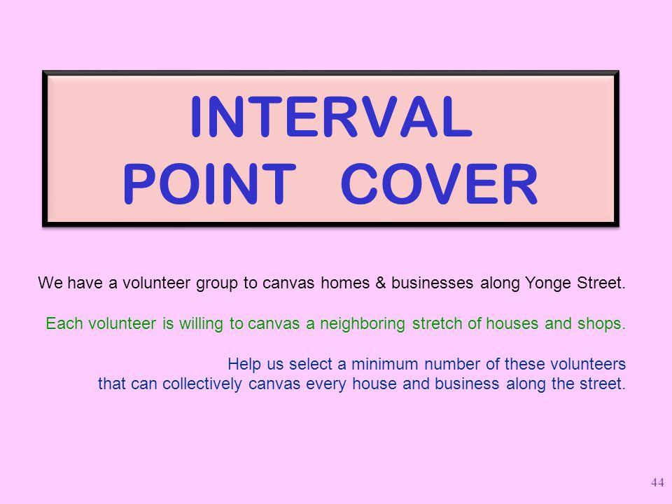 INTERVAL POINT COVER We have a volunteer group to canvas homes & businesses along Yonge Street. Each volunteer is willing to canvas a neighboring stre