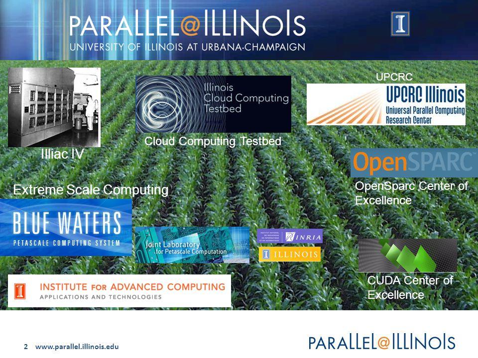 2 www.parallel.illinois.edu Parallel @ Illinois Illiac IV UPCRC Cloud Computing Testbed OpenSparc Center of Excellence CUDA Center of Excellence Extreme Scale Computing