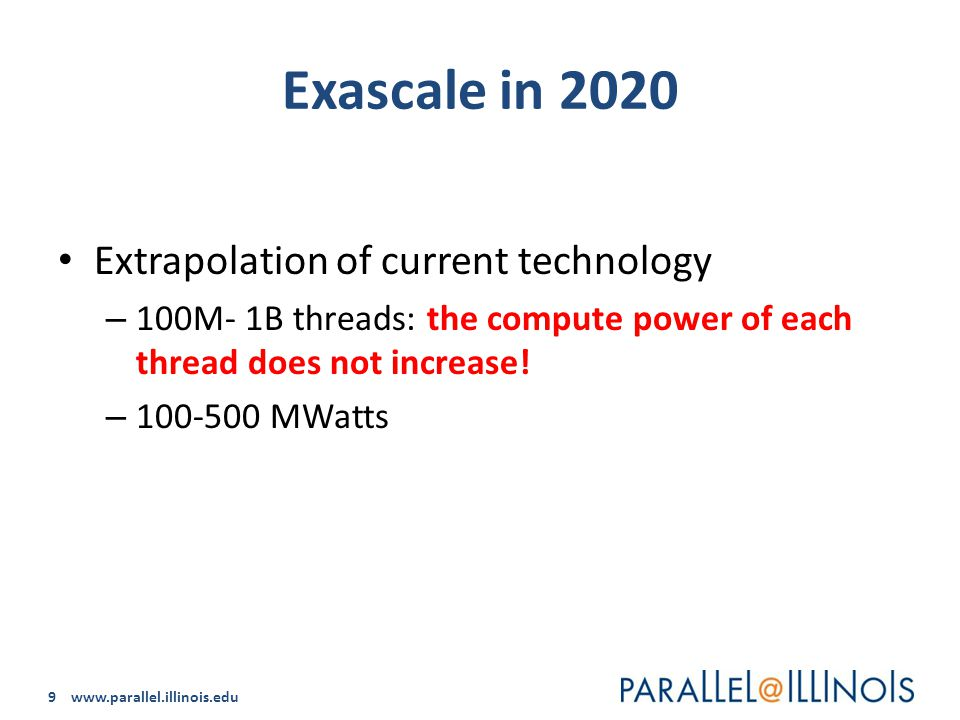 9 www.parallel.illinois.edu Exascale in 2020 Extrapolation of current technology – 100M- 1B threads: the compute power of each thread does not increase.