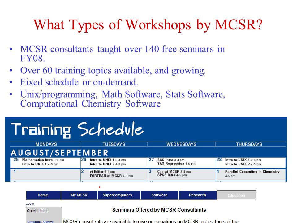 What Types of Workshops by MCSR? MCSR consultants taught over 140 free seminars in FY08. Over 60 training topics available, and growing. Fixed schedul