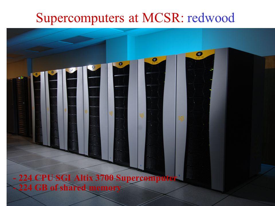 Supercomputers at MCSR: redwood - 224 CPU SGI Altix 3700 Supercomputer - 224 GB of shared memory