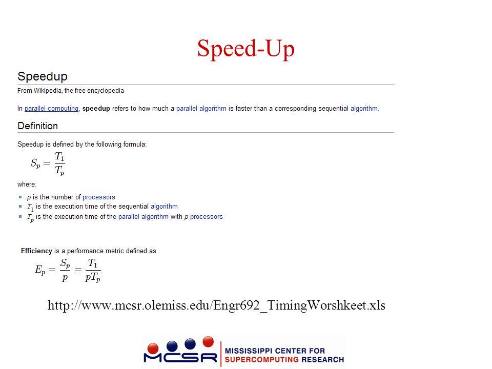 Speed-Up http://www.mcsr.olemiss.edu/Engr692_TimingWorshkeet.xls
