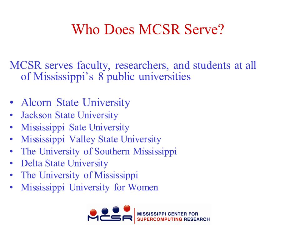 Do Researchers and Students Pay to Use MCSR.No.