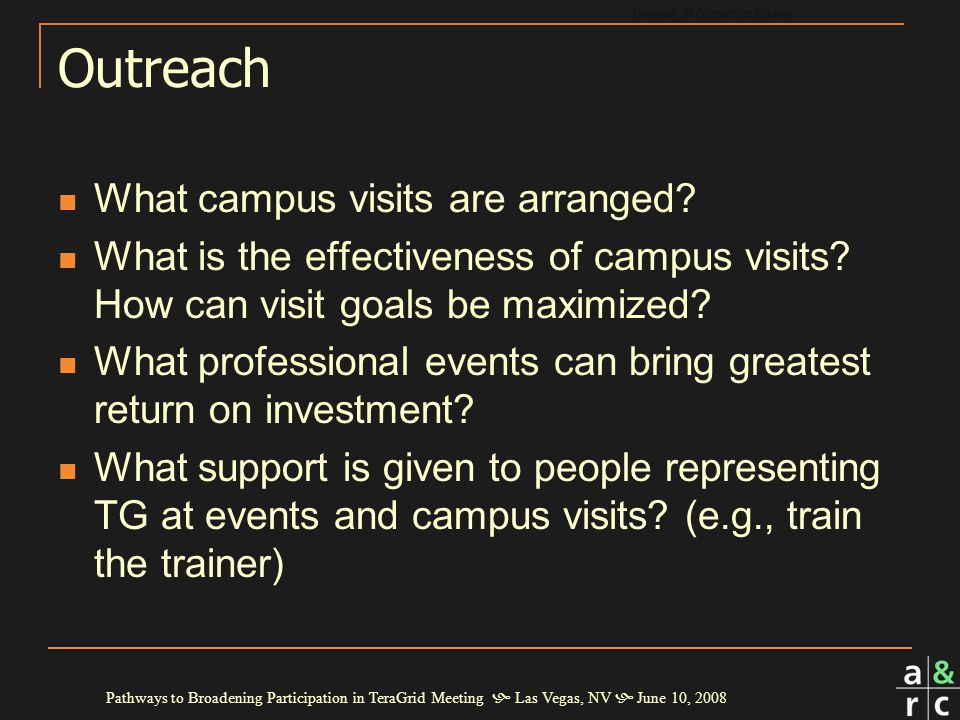 University of Colorado at Boulder Pathways to Broadening Participation in TeraGrid Meeting  Las Vegas, NV  June 10, 2008 Outreach What campus visits are arranged.