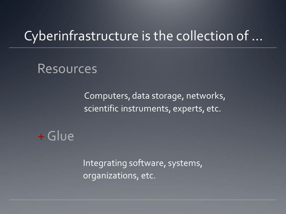 Cyberinfrastructure is the collection of...