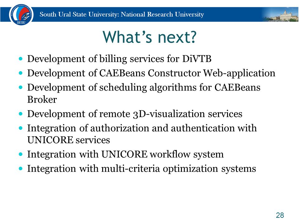 What's next? Development of billing services for DiVTB Development of CAEBeans Constructor Web-application Development of scheduling algorithms for CA