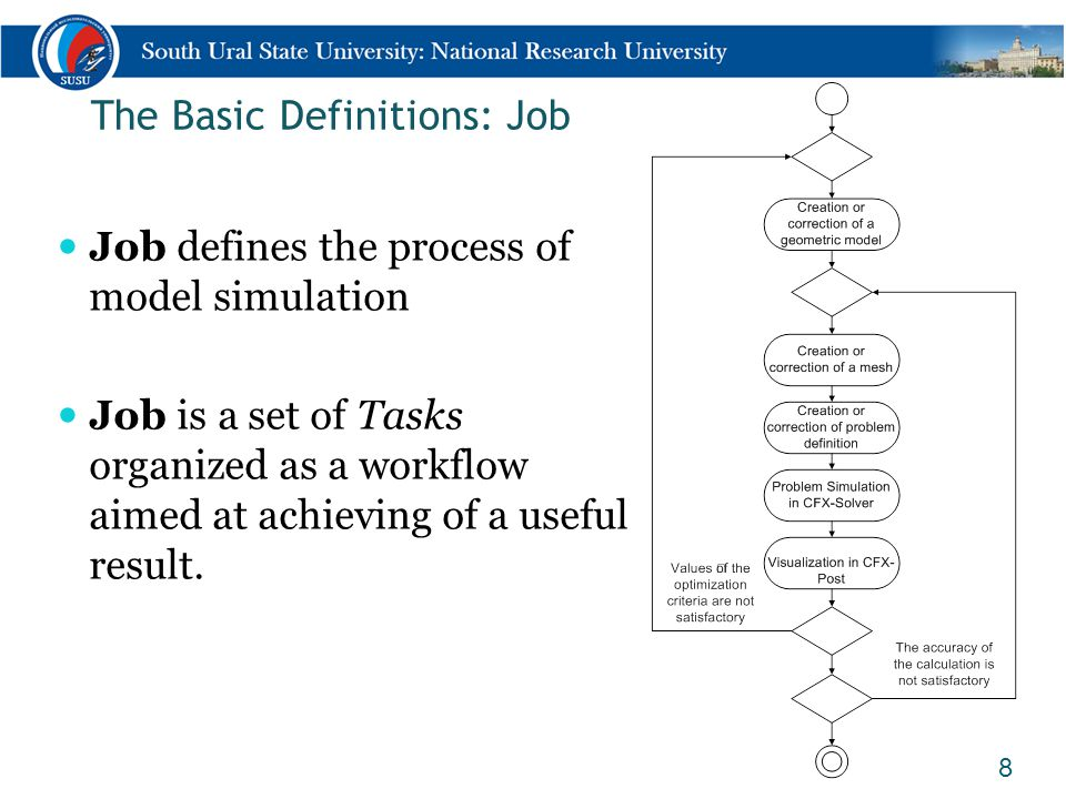 The Basic Definitions: Job 8 Job defines the process of model simulation Job is a set of Tasks organized as a workflow aimed at achieving of a useful