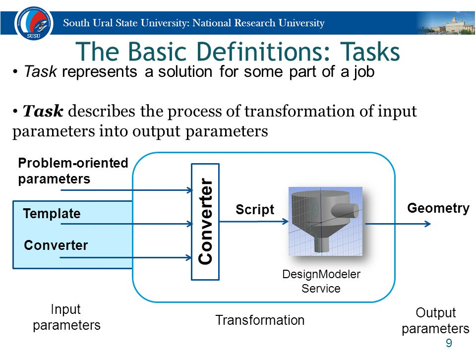 The Basic Definitions: Tasks 9 DesignModeler Service Task represents a solution for some part of a job Task describes the process of transformation of