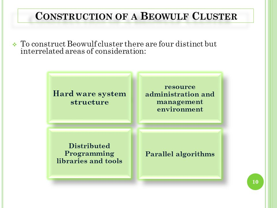  To construct Beowulf cluster there are four distinct but interrelated areas of consideration: 10