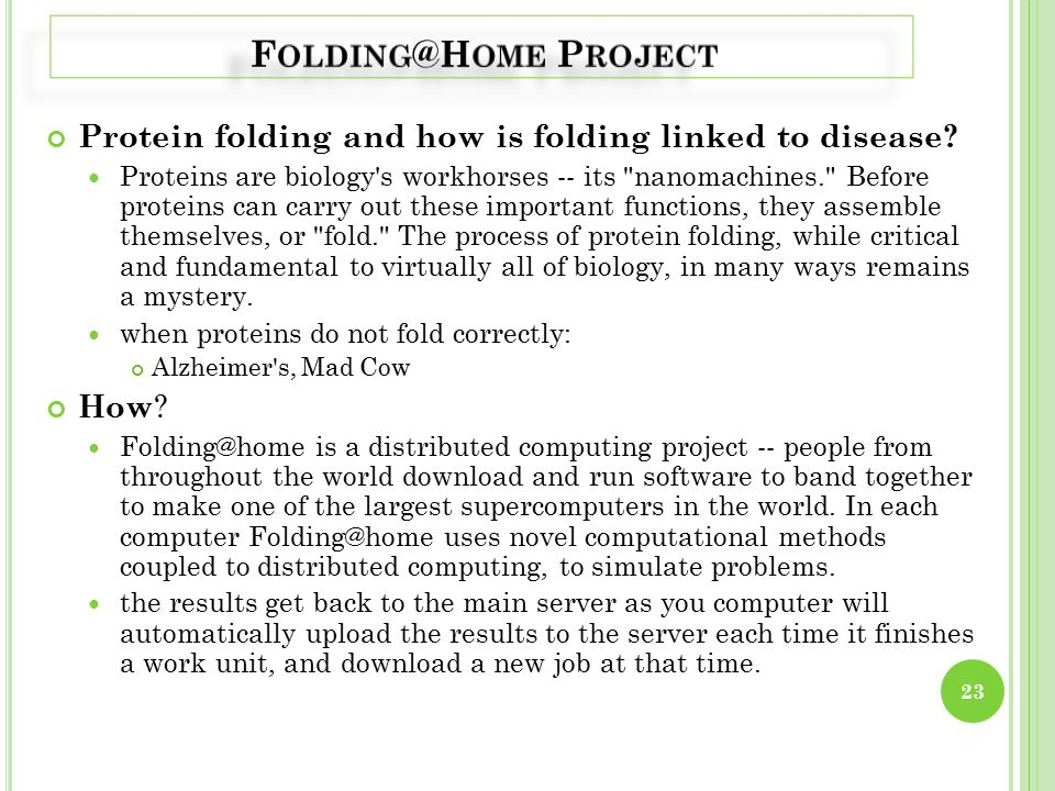 Protein folding and how is folding linked to disease.