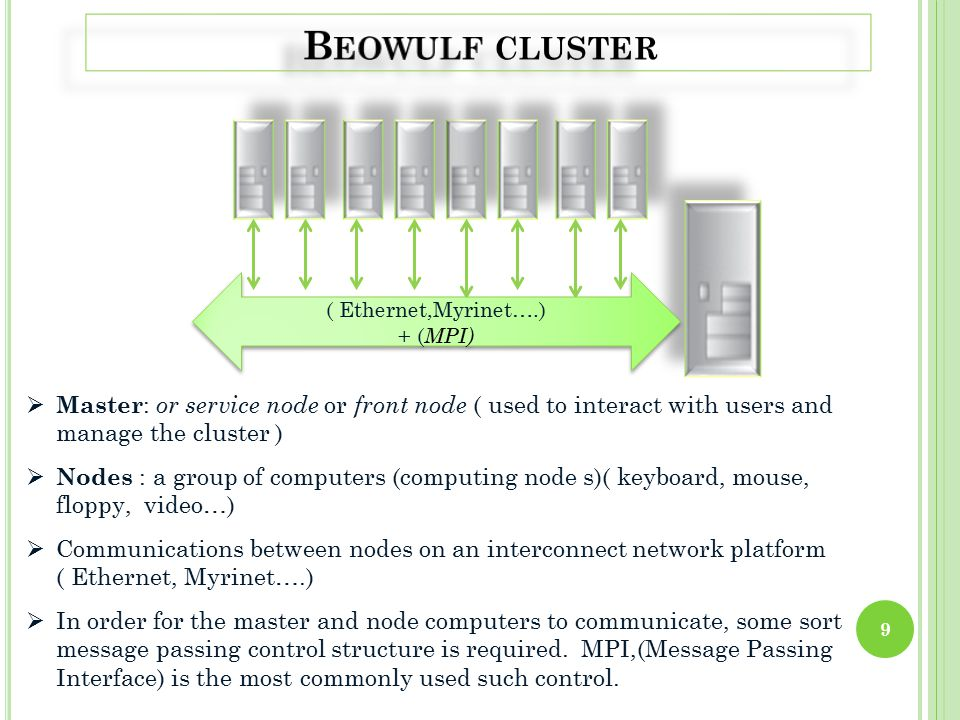 ( Ethernet,Myrinet….) + ( MPI) ( Ethernet,Myrinet….) + ( MPI)  Master : or service node or front node ( used to interact with users and manage the cluster )  Nodes : a group of computers (computing node s)( keyboard, mouse, floppy, video…)  Communications between nodes on an interconnect network platform ( Ethernet, Myrinet….)  In order for the master and node computers to communicate, some sort message passing control structure is required.