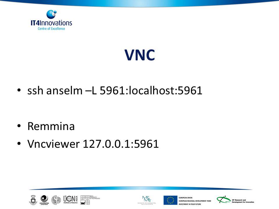 VNC ssh anselm –L 5961:localhost:5961 Remmina Vncviewer 127.0.0.1:5961